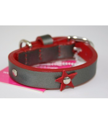 "Red Stars in Silver Leather Extra-Small Collar 1/2""x10"""